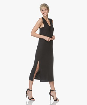 Rag & Bone Phoenix Vee French Terry Dress - Black