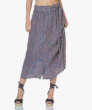 indi & cold Midi Flower Skirt - Indigo