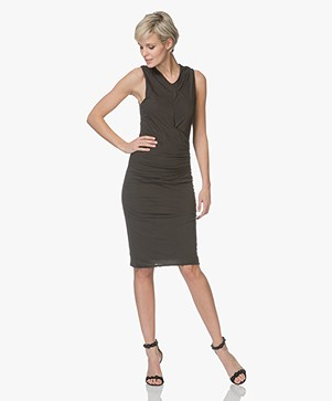 James Perse Side Draped Jersey Dress - Abyss