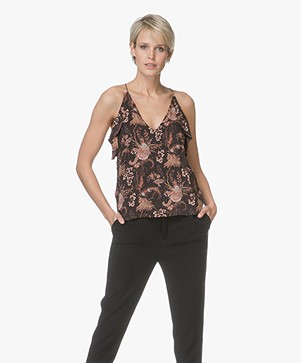 Magali Pascal Whisper Print Top met Volants - Black Valence