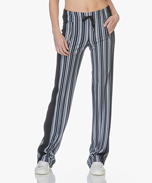 Drykorn Tracking Striped Jersey Pants - Dark Blue/Off-white