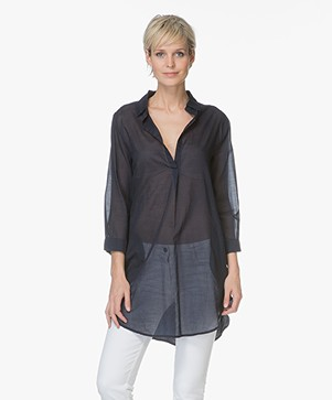 Majestic Cotton Blouse with Jersey Back - Marine