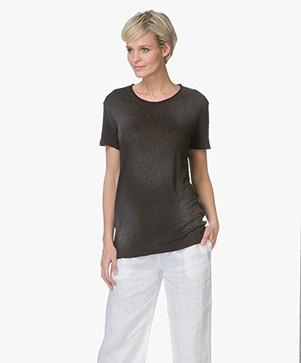 IRO Lupray Linnen Jersey T-shirt - Zwart