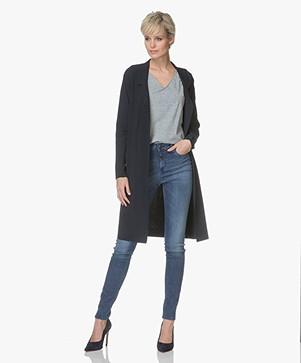 JapanTKY Kozue Long Blazer in Travel Jersey - Black Blue