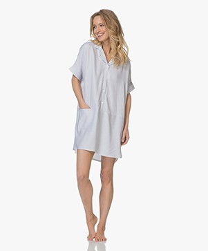 Calvin Klein Striped Night Shirt in Viscose - White/Dark Blue