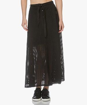 LEÏ 1984 Marinette Embroidered A-line Midi Skirt - Black