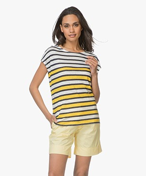 Petit Bateau Linen Striped Tee - Yellow/White/Navy