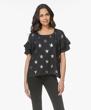 Current/Elliott The Ruffle Roadie T-shirt - Black Foil Star