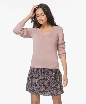 HUGO Singillo Viscose Pullover with Lurex - Dark Pink
