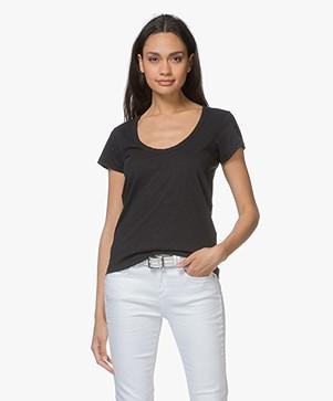 Rag & Bone Cotton U-neck T-shirt - Black