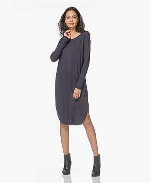 Sibin/Linnebjerg Grape Sweater Dress with Cashmere - Navy