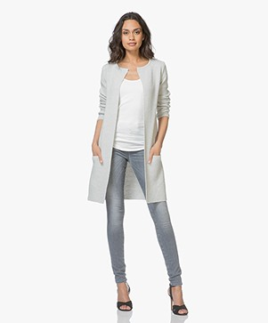 Sibin/Linnebjerg Mary Merino Blend Open Cardigan - Light Grey