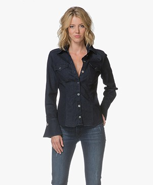 BOSS Ebui Denim Blouse met Flared Manchetten - Donkerblauw