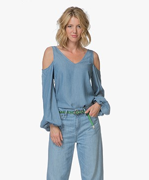 Denham Coast Cold Shoulder Chambray Blouse - Washed Indigo