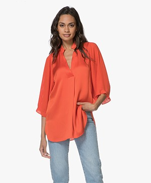 By Malene Birger Sanah Satin Blouse with Pleated Sleeves - Poinciana