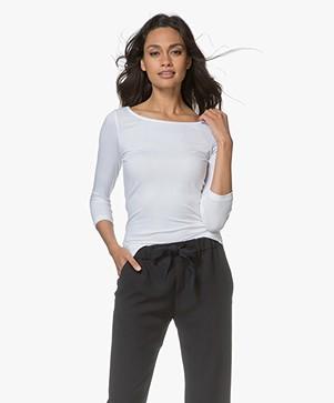 Hugo Dannela Shirt met Cropped Mouwen - Wit