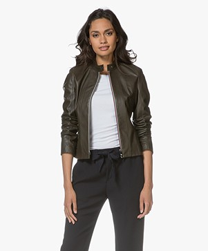 HUGO Linotte Short Leather Jacket - Medium Green