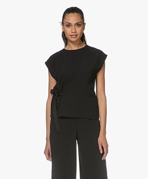 Rag & Bone Etta Crepe Drawstring Top - Black