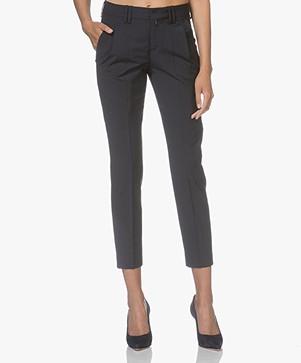 Drykorn Dip Cropped Cool Wool Pantalon - Donkerblauw