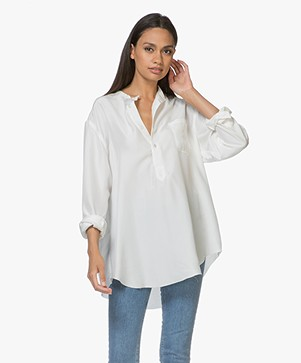 extreme cashmere N°67 Feel Habotai Silk Blouse - Off-white