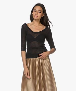 Filippa K Sheer Merino Knit T-shirt - Zwart