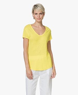 American Vintage Lolosister Linen V-neck T-shirt - Spark