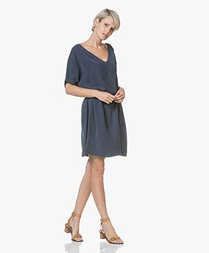 American Vintage Nalastate Oversized Lyocell Dress - Navy