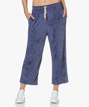 American Vintage Ponpon Velvet Cropped Sweatpants - Satellite