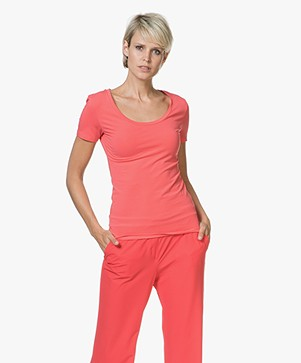 Drykorn Natina Scoopneck T-shirt - Koraalrood