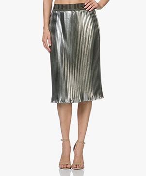HUGO Rilesta Metallic Pleated Skirt - Medium Green