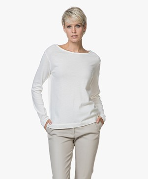 Majestic Long Sleeve T-shirt in Cotton and Cashmere - Milky White