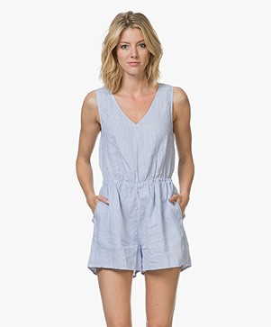 American Vintage Mukadance Linen Playsuit with Stripes - Light Blue