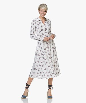 Ba&sh Flore Viscose Floral Dress - Off-white