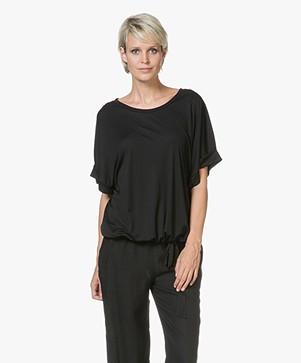 Closed Tencel T-shirt met Strikdetail - Zwart