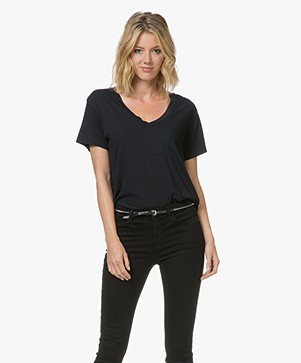 Current/Elliott The V-Neck Tee - Black Beauty