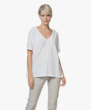 Drykorn Adala Viscose Blend Reversible T-shirt - White
