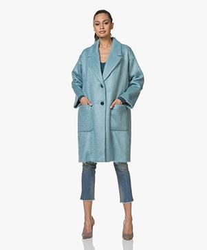 Pomandère Oversized Mohair Blend Coat - Ice Blue