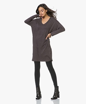 Majestic Sweaterjurk in Double-faced Jersey - Chocolat Mêlee/Zwart
