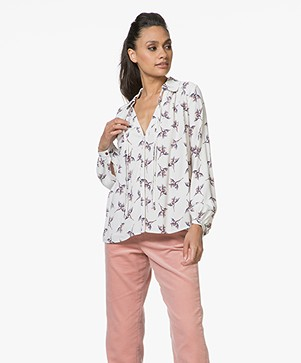 Ba&sh Fausta Printed Viscose Blouse - Off-white
