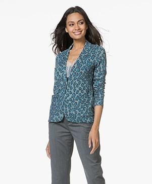 Majestic Filatures Jersey Blazer met Print - Luipaard Atlantic Blauw