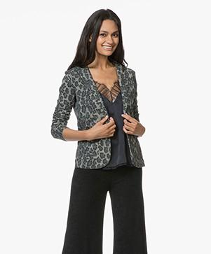 Majestic Filatures Jersey Blazer with Print - Leopard Khaki