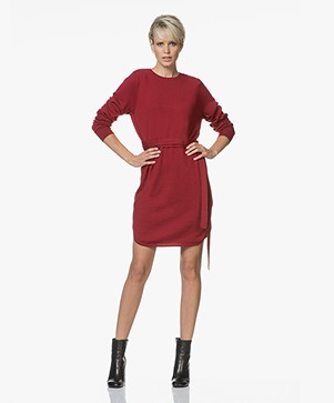 Sibin/Linnebjerg Juliette Sweater Dress with Optional Turtleneck Collar - Deep Red