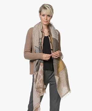 LaSalle Jacquard Wool Blend Scarf - Beige