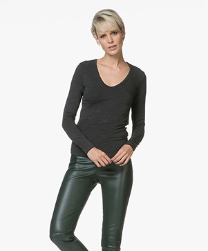 Majestic Filatures Amelie V-neck Long Sleeve T-shirt - Anthracite Melange
