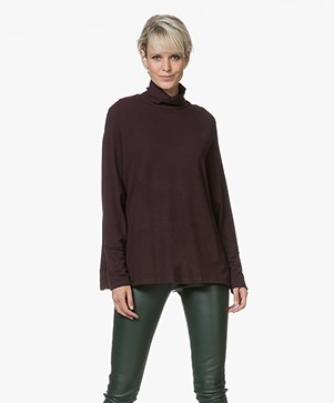 Majestic Filatures Oversized Colshirt in Fleece Jersey - Aubergine