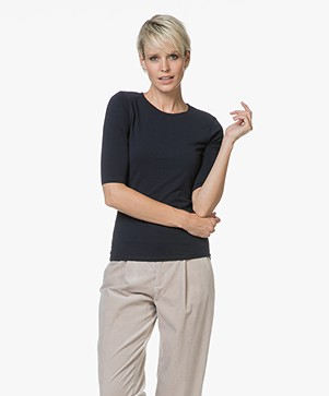 Filippa K Cotton Stretch Elbow Sleeve T-shirt - Navy