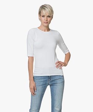 Filippa K Cotton Stretch Elbow Sleeve T-shirt - White