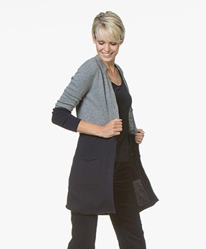 Belluna Holiday Half-length Color-block Cardigan - Grey/Navy