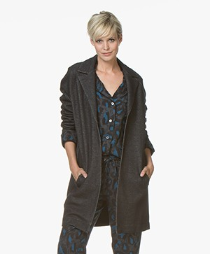 Majestic Filatures Long Jersey Blazer Cardigan in Cotton - Black Denim