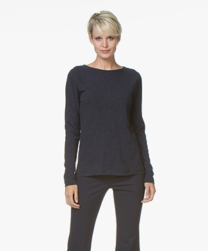 Belluna Indigo Boat Neck Sweater with Cashmere - French Blue
